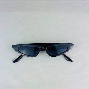 slim cat eye sunglasses with black lens sunglasses
